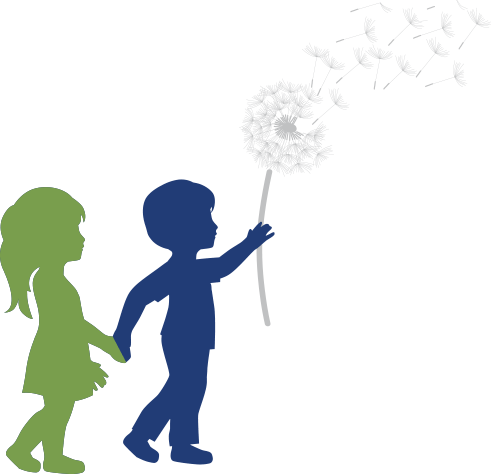 Silhouette of Boy and Girl with Dandelion